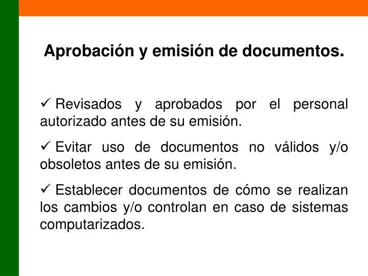 Aprobación y emisión de documentos