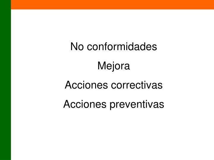 No conformidades