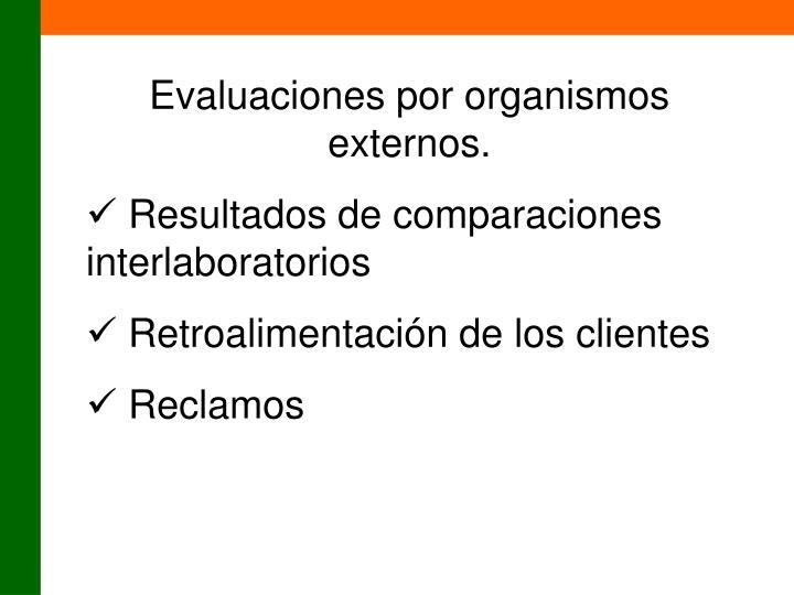 Evaluaciones por organismos externos.