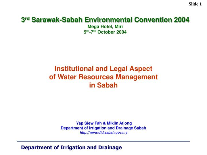 institutional and legal aspect of water resources management in sabah n.