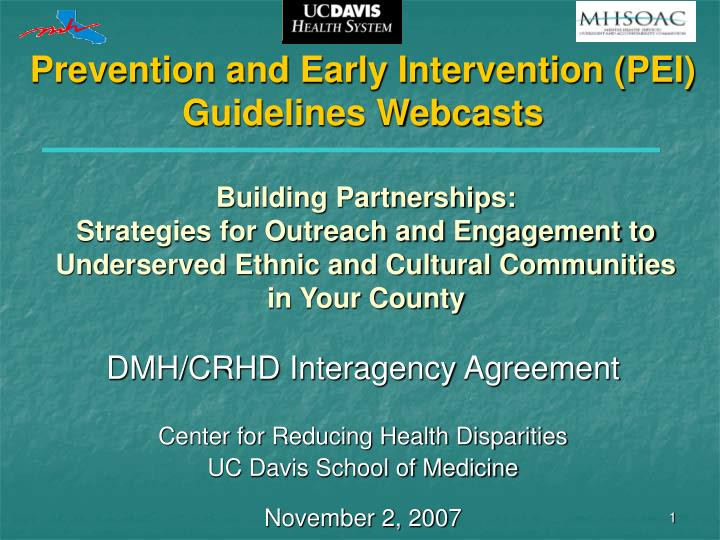prevention and early intervention pei guidelines webcasts n.