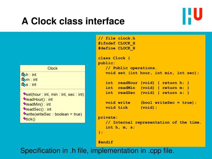 A clock class interface