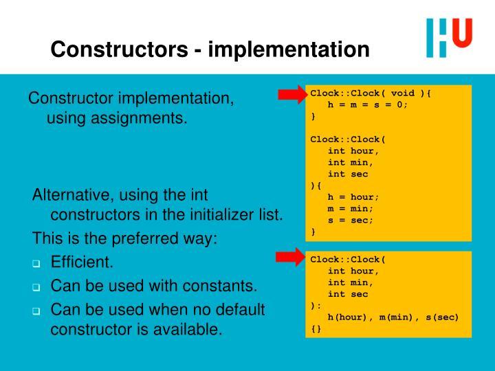 Constructors - implementation