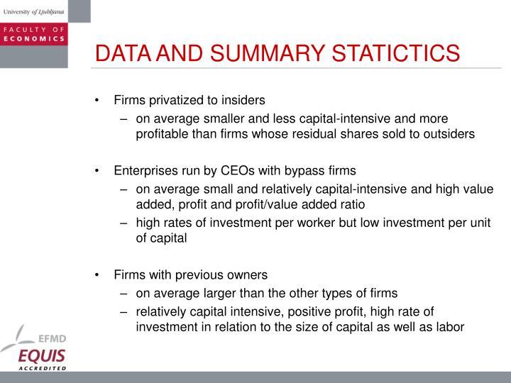 DATA AND SUMMARY STATICTICS
