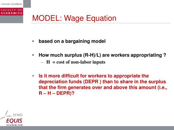 MODEL: Wage Equation