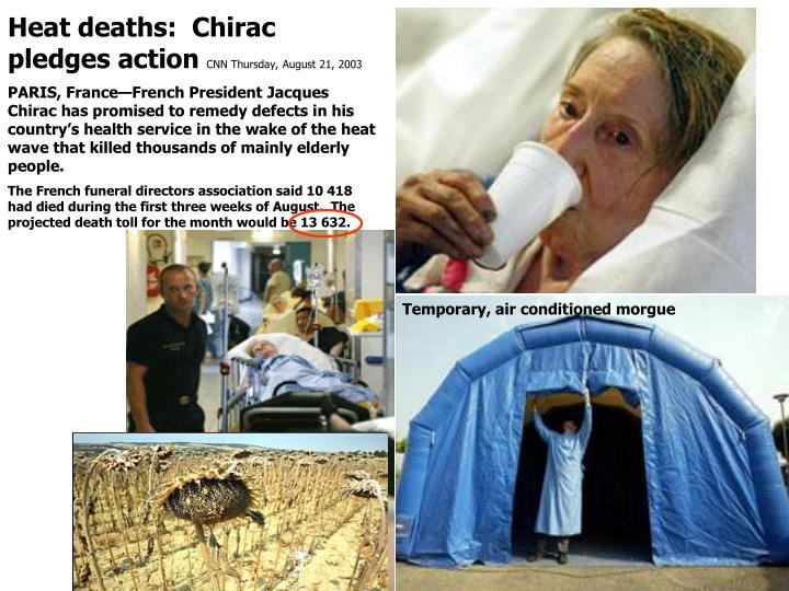 Heat deaths:  Chirac pledges action