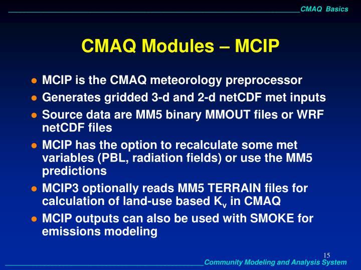 CMAQ Modules – MCIP