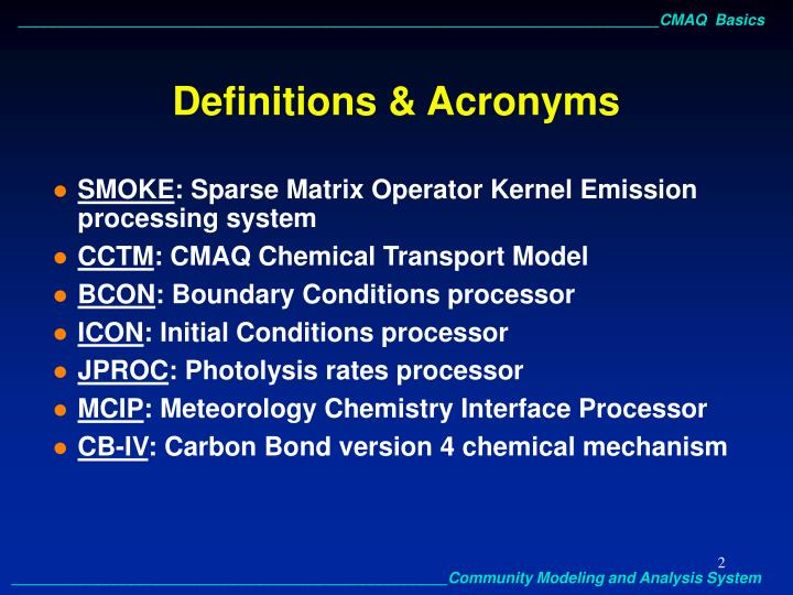 Definitions acronyms