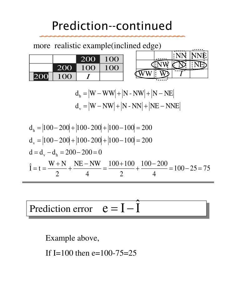 Prediction--continued