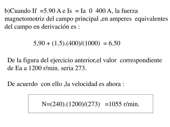 b)Cuando If  =5.90 A e Is  = Ia  0  400 A, la fuerza magnetomotriz del campo principal ,en amperes  equivalentes  del campo en derivación es