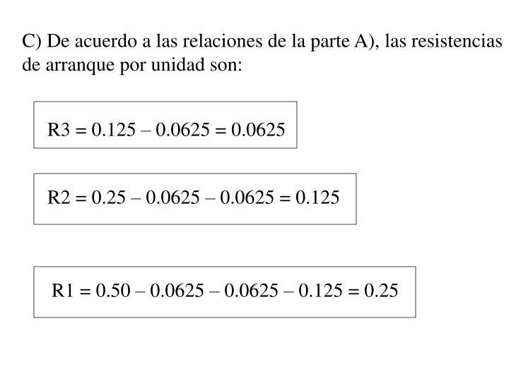 C) De acuerdo a las relaciones de la parte A), las resistencias de arranque por unidad son: