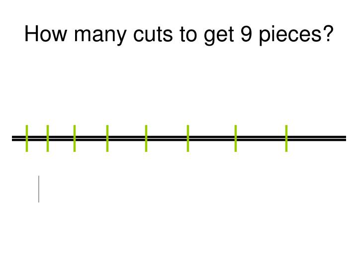 How many cuts to get 9 pieces?