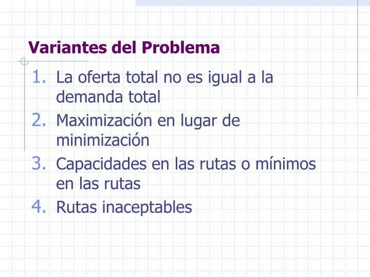 Variantes del Problema