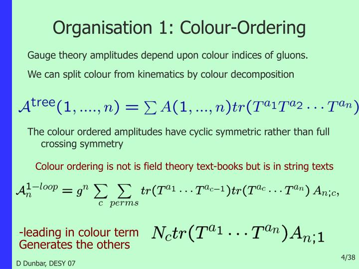 Organisation 1: Colour-Ordering