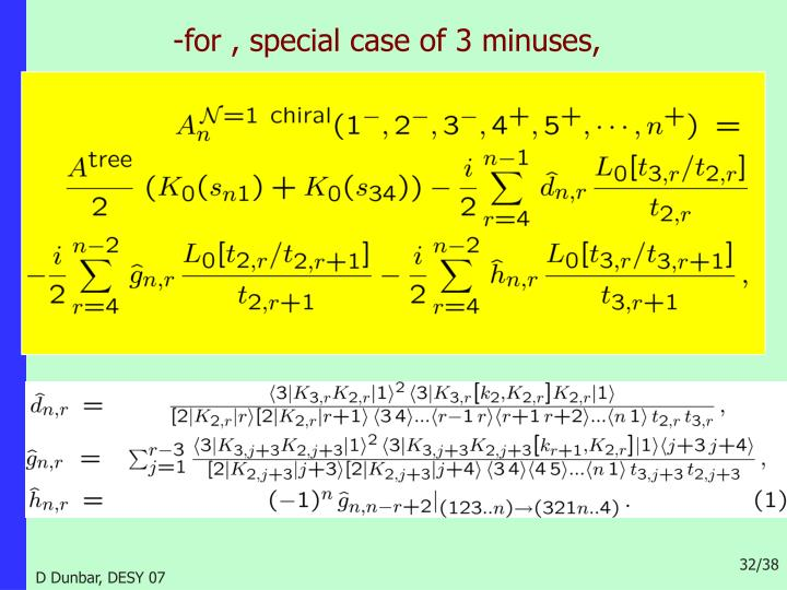 -for , special case of 3 minuses,