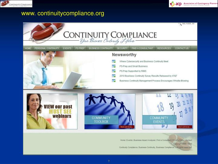 www. continuitycompliance.org