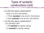 types of syntactic constructions ctd