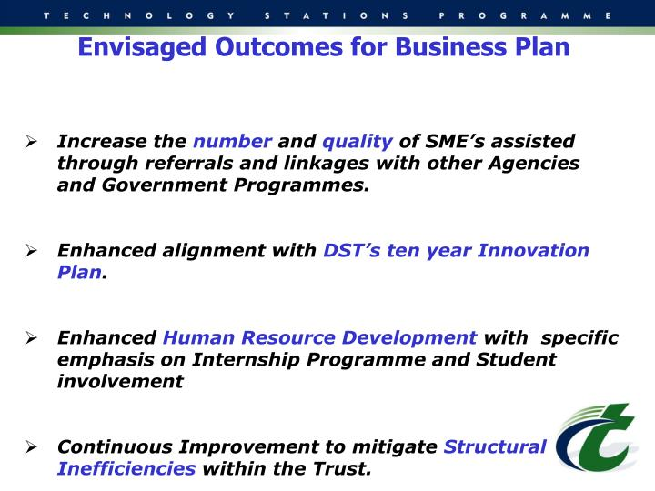 Envisaged Outcomes for Business Plan