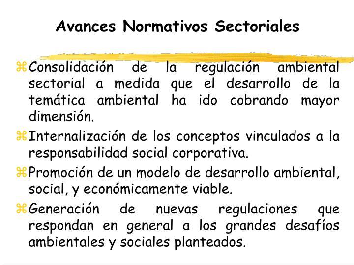 Avances Normativos Sectoriales