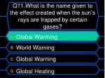 q11 what is the name given to the effect created when the sun s rays are trapped by certain gases1
