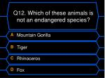 q12 which of these animals is not an endangered species