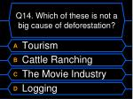 q14 which of these is not a big cause of deforestation