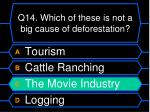 q14 which of these is not a big cause of deforestation1