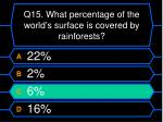 q15 what percentage of the world s surface is covered by rainforests1