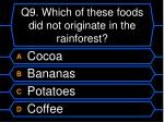 q9 which of these foods did not originate in the rainforest