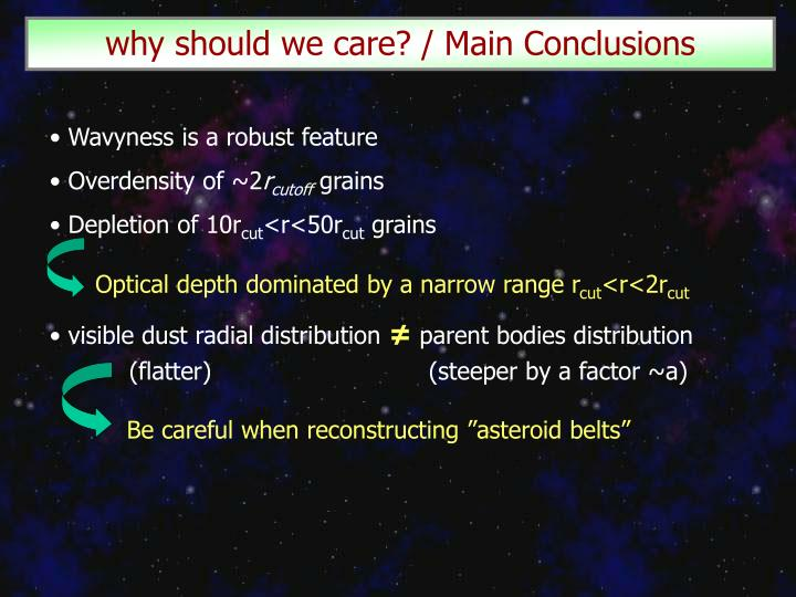 why should we care? / Main Conclusions