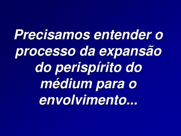 Precisamos entender o processo da expansão do perispírito do médium para o envolvimento...