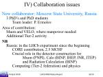 iv collaboration issues