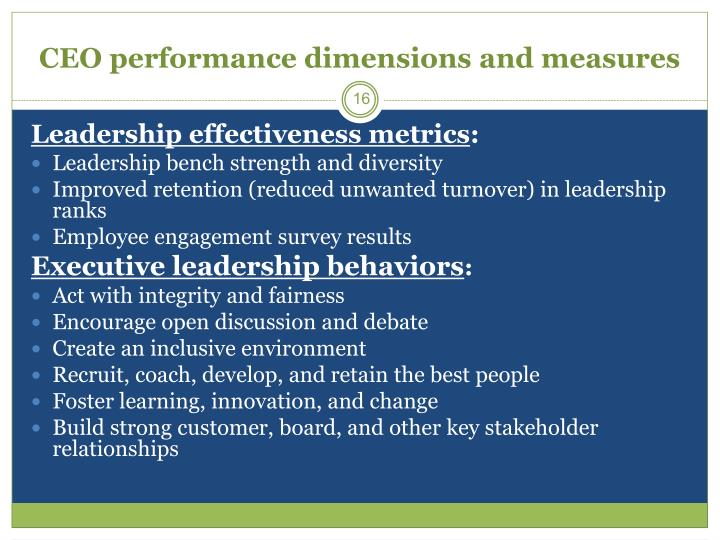 CEO performance dimensions and measures