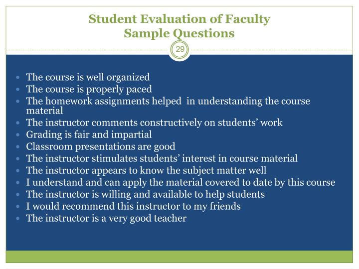 Student Evaluation of Faculty