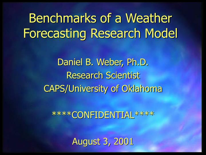 Benchmarks of a weather forecasting research model
