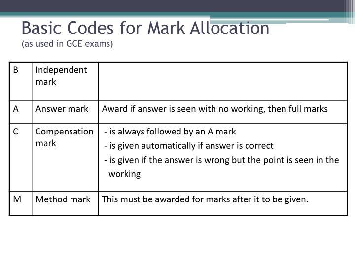 Basic Codes for Mark Allocation