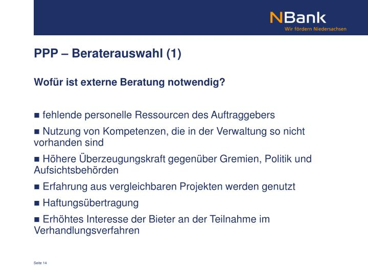 PPP – Beraterauswahl (1)