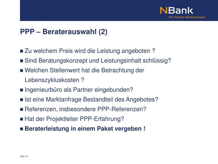 PPP – Beraterauswahl (2)