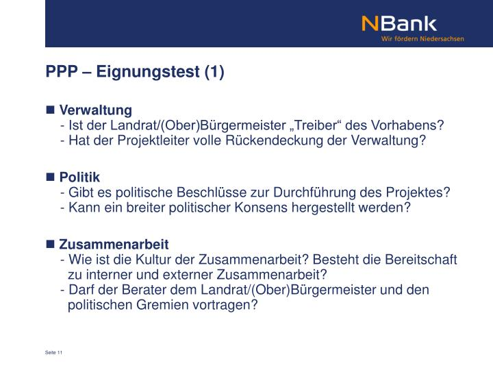 PPP – Eignungstest (1)