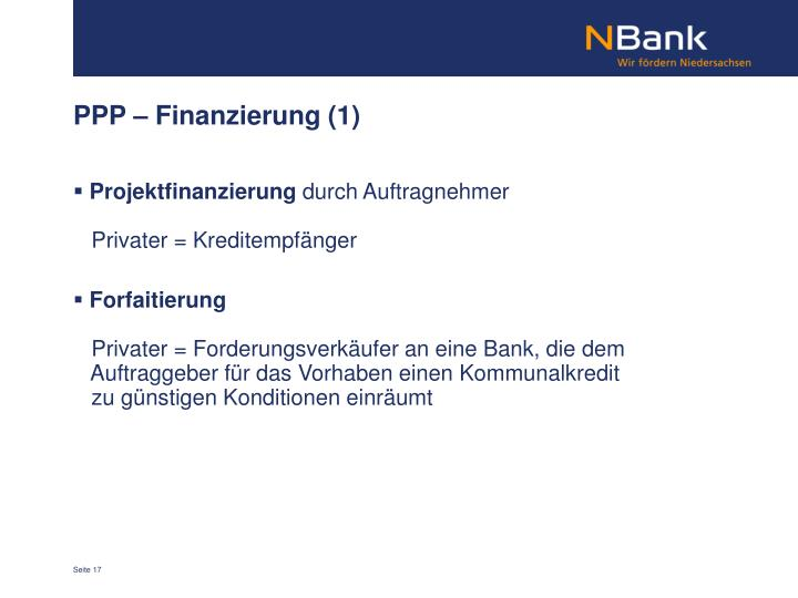 PPP – Finanzierung (1)