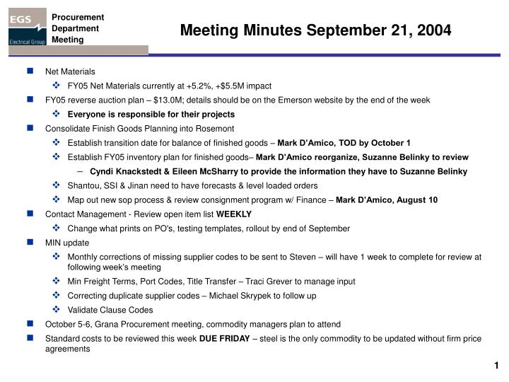 ppt - meeting minutes september 21  2004 powerpoint presentation
