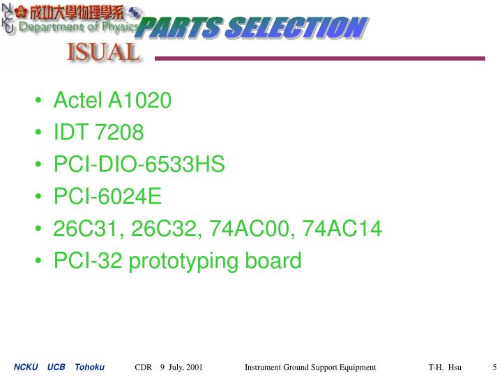 PARTS SELECTION