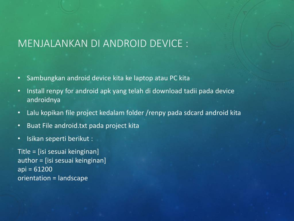 PPT - VISUAL NOVEL ON ANDROID DEVICE PowerPoint Presentation