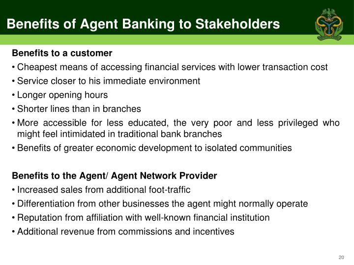 Benefits of Agent Banking to Stakeholders