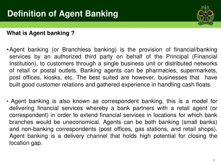Definition of Agent Banking