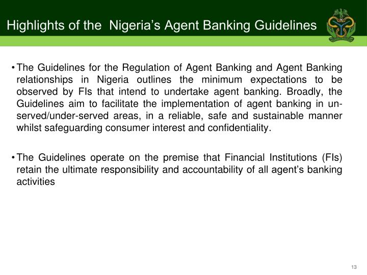Highlights of the  Nigeria's Agent Banking Guidelines