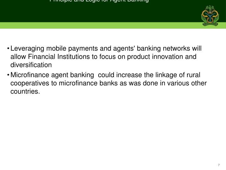 Principle and Logic for Agent Banking
