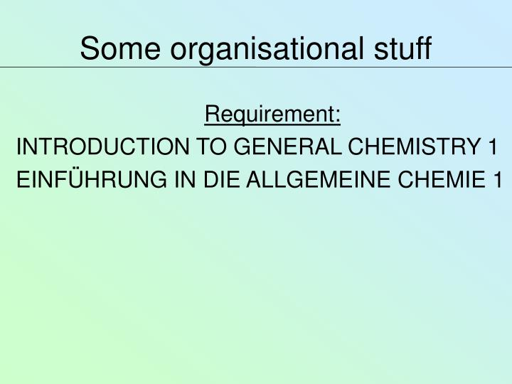Some organisational stuff