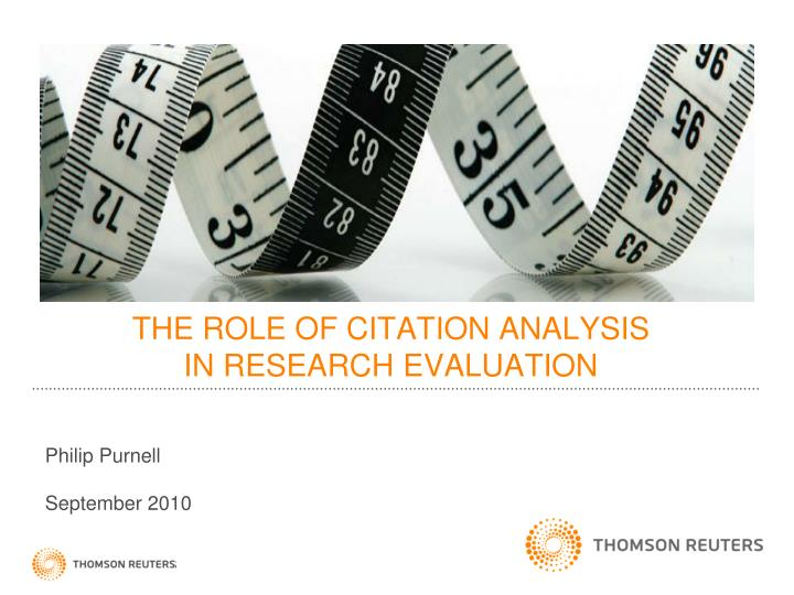 the role of citation analysis in research evaluation n.
