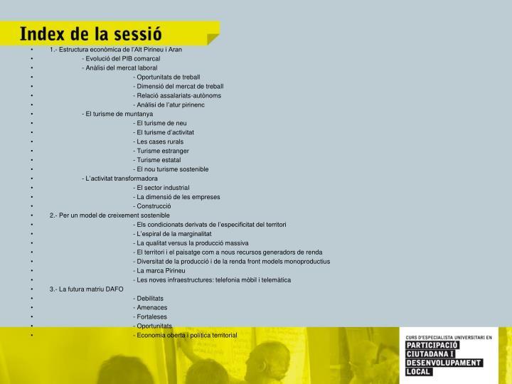 1.- Estructura econòmica de l'Alt Pirineu i Aran